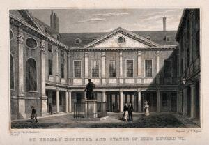 view Old St. Thomas's Hospital, Southwark: inside the first courtyard. Engraving by T. Higham after T. H. Shepherd.