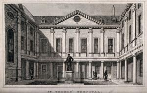 view Old St. Thomas's Hospital, Southwark: inside the first courtyard. Engraving.
