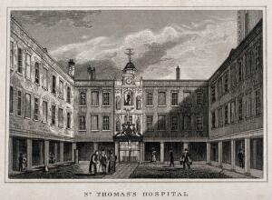 view Old St. Thomas's Hospital, Southwark: the entrance courtyard. Engraving.