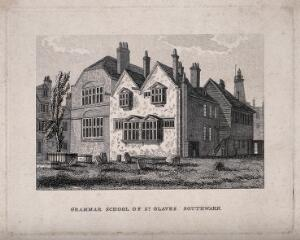 view St Olave's Grammar School, Southwark. Etching by J. C. Buckler.
