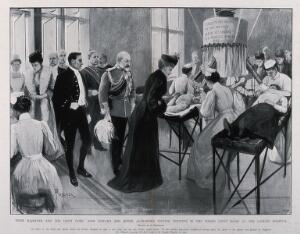 view The London Hospital, Whitechapel: King Edward VIII and Queen Alexandra in the Finsen Light room. Process print after a drawing by A. Forestier, c.1903.