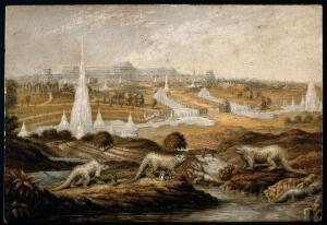 view The Crystal Palace from the Great Exhibition, installed at Sydenham: sculptures of prehistoric creatures in the foreground. Colour Baxter-process print by G. Baxter, 1864(?).