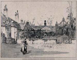 view Emanuel Hospital, Tothill Fields, Westminster. Process print, c.1893, after a drawing by H. Railton.