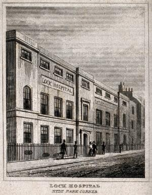 view The Lock Hospital, Hyde Park Corner, Westminster. Engraving by J. Shury after T. H. Shepherd.