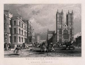 view The Westminster Hospital, and Westminster Abbey, London. Engraving.