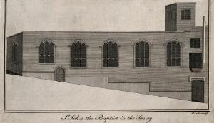 view The church of St. John the Baptist, Savoy Hill. Engraving by B. Cole.