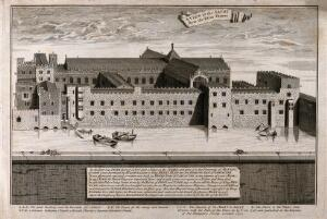 view The church and hospital of Savoy, London: bird's-eye view from Southwark. Engraving by G. Vertue, 1750, after himself, 1736.