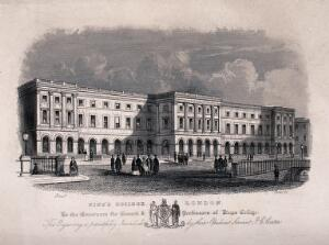 view King's College, Strand, London. Engraving by J. C. Carter.