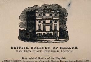 view The British College of Health, Hamilton Place, near Pentonville Road. Wood engraving, 1840.