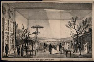 view Bullock's Museum, (Egyptian Hall or London Museum), Piccadilly: the interior, with an exhibition about Mexico. Lithograph by A. Aglio.