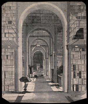 view The British Museum: the incunabula room of the library, with a member of staff fetching books [?]. Wood engraving, possibly after I. Jewitt.
