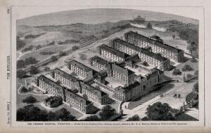 view The Herbert Military Hospital, Woolwich: the silhouette of the Crystal Palace visible on the horizon. Wood engraving by T. Heaviside after B. Sly, 1866.
