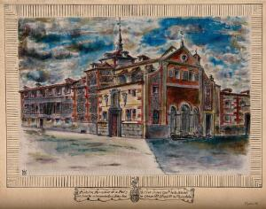 view Monastery of the Royal Military Spanish Order of Mercy, Madrid, Spain: with coat of arms. Coloured pen and ink drawing.