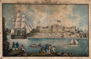 view Malta: Royal Naval Hospital or Bighi Hospital, with sailors dancing on the shore. Coloured pen and ink drawing by J. Parker, 1843, after C.F. de Brocktorff, ca. 1819 (?).