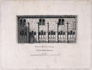 view Chetham's Hospital, Manchester, England: with west side of cloisters, and a scale. Etching by P. Cruikshank after I.C. Gregan.