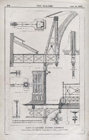 view Baths and laundries, Mayfield, Manchester, England: design drawings with scale and verbal key. Wood engraving, 1858.