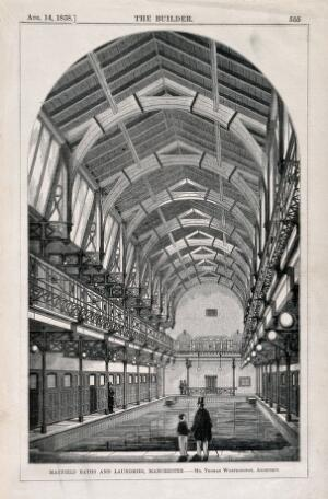 view Mayfield Baths and laundries, Manchester, England: interior. Wood engraving by W.E. Hodgkin, 1858, after B. Sly after T. Worthington.