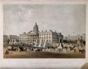 view Royal Manchester Infirmary, Manchester, England. Coloured lithograph by J. Arnout.