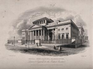 view Royal Institution, Manchester, England. Line engraving by A. Ashley after J.F. Burrell.