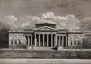 view Royal Institution, Manchester, England. Line engraving by J. Fothergill.