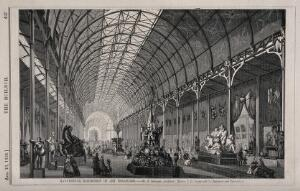 view Manchester Exhibition of Art treasures, Manchester, England: interior gallery. Wood engraving by W.E. Hodgkin, 1856, after B. Sly after E. Salomons.