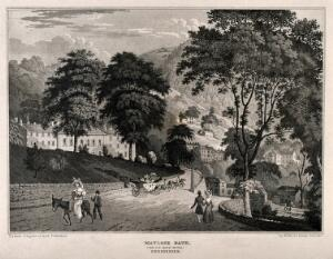 view Matlock Bath, Derbyshire: the Old Bath Hotel. Aquatint by H. Moore after himself, 1830.