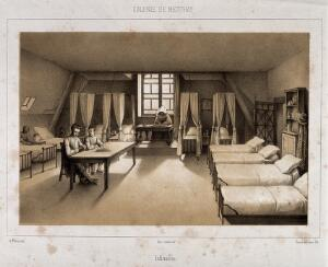 view Convent Hospital, Mettray, Indre-et-Loire, France. Tinted lithograph by Sauvé & Faivre after A. Thierry.