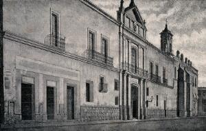 view Conservatory of Music, Mexico: part of Mexico City University. Reproduction of drawing by E. Gimeno.