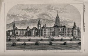 view Branch Insane Asylum, Napa, California. Wood engraving by F. Wyatt, 1873, after B. Sly.