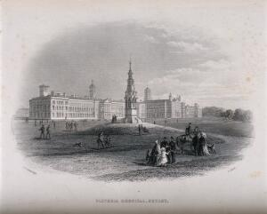 view Victoria Hospital, Netley, Hampshire. Line engraving by E. Albutt after J.C. Armytage.