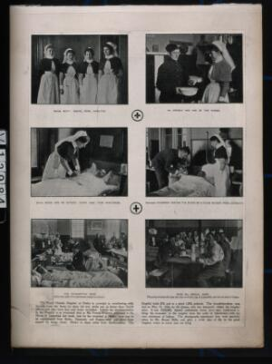 view Royal Victoria Hospital, Netley, Hampshire: six scenes of nurses, nurse and patient, patients, hospital wards, treatment and physicians. Process print.