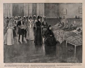 view Royal Victoria Military Hospital, Netley, Hampshire: Queen Victoria visiting the wounded. Process print after R.C. Dickinson after W. Hatherell.