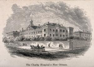 view Charity Hospital, New Orleans, Louisiana. Wood engraving.