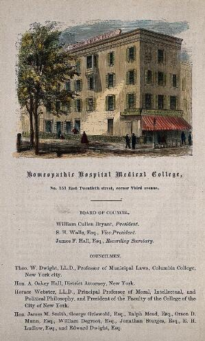 view Homeopathic Hospital Medical College, New York City. Coloured wood engraving.