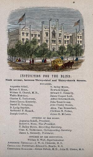 view Institution for the Blind, New York City. Coloured wood engraving.