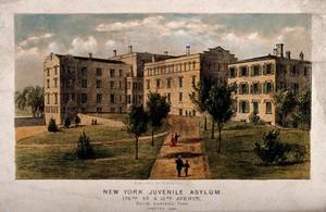 view Juvenile Asylum, New York City. Coloured lithograph.