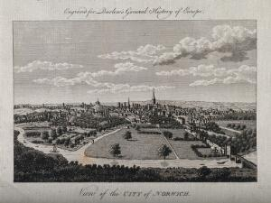 view City of Norwich, Norfolk. Line engraving.