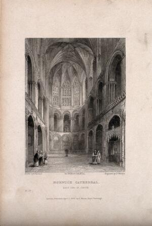 view Norwich Cathedral, Norwich, Norfolk: interior. Etching by B. Winkles, 1837, after R. Garland.