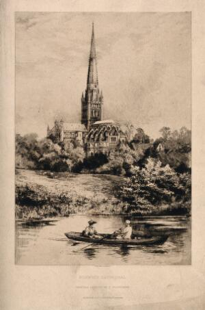 view Norwich Cathedral, Norwich, Norfolk: from the river. Etching by E. Slocombe.