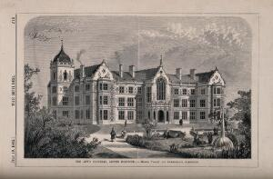 view Jews' Hospital, Lower Norwood. Wood engraving by Walmsley, 1862, after G.W. Smith after Tillott and Chamberlain.