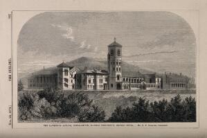 view Lawrence Asylum, Ootakamund, Madras, India. Wood engraving by J. Walmsley, 1873, after R.F. Chisholm.