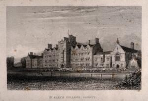 view St. Mary's College, Oscott, Staffordshire. Etching by W. Radclyffe.