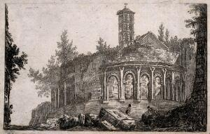 view Ruins of a classical building with a vernacular tower. Etching by Holkes, 1819.