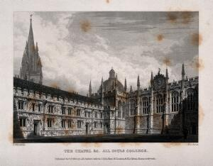 view All Souls College, Oxford: chapel, with St. Mary's Church and the Radcliffe Camera. Line engraving by J. Le Keux, 1834, after F. Mackenzie.