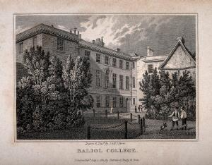 view Balliol College, Oxford: from the gardens. Line engraving by J. & H.S. Storer, 1821.