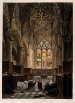 view Christ Church, Oxford: prayers in the chapel. Coloured aquatint by F.C. Lewis, 1813, after F. Nash.