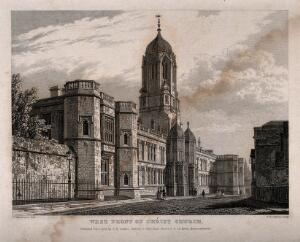 view Christ Church, Oxford: panoramic view. Line engraving by J. Le Keux, 1833, after F, Mackenzie.