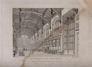view Christ Church, Oxford: interior of hall. Line engraving by J. Le Keux, 1833, after F. Mackenzie.