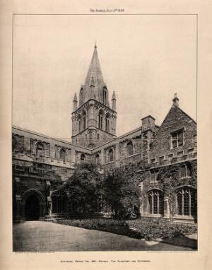 view Christ Church, Oxford: cloisters and cathedral. Photolithograph by A.E. Walsham, 1908.