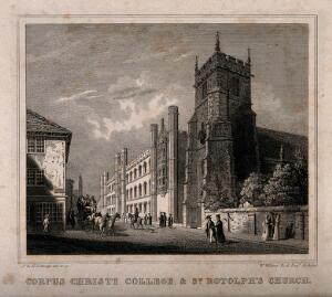 view Corpus Christi College and St. Botolph's Church, Oxford. Line engraving by J. & H.S. Storer after W. Wilkins.
